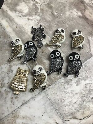 HUGE Lot Of Vintage To Now Rhinestone OWLS OWL Pins Charms