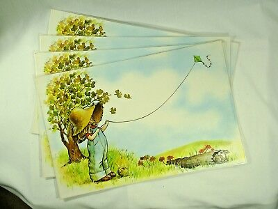 Placemats Girl With Hat Flying Kite Fishing 2 Sided Plastic Coated Lot of 4