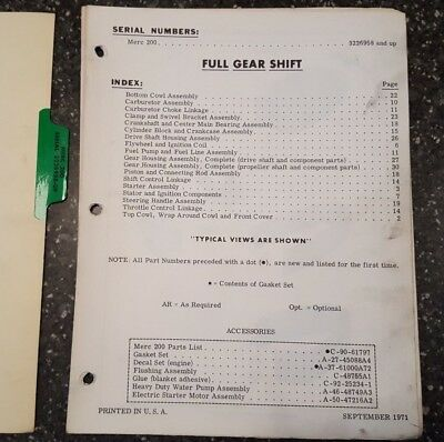 MERCURY OUTBOARD MERC 110 Parts List Manual Serial 3263263