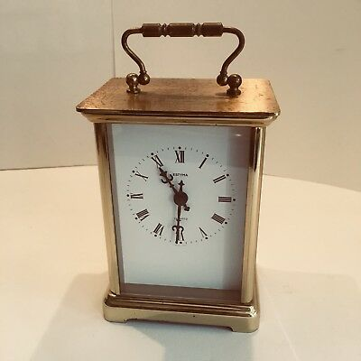 Vintage Estyma Quartz Carriage Clock Battery Operated Keeps Good Time