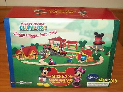 Mickey's SEE  YA REAL SOON! Wooden TRAIN Starter Set  Mickey Mouse Clubhouse NEW