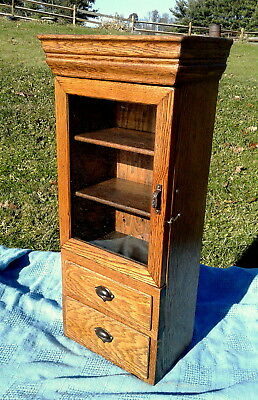 Hanging Oak Wall Medicine Cupboard Cabinet with Shelves and Drawers Antique