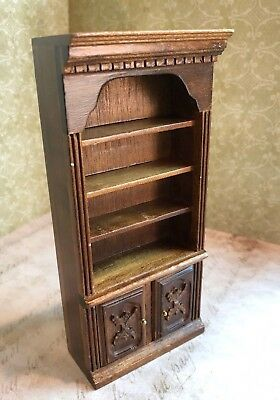 Vintage Miniature Dollhouse Tall Cabinet 4 Shelves 2 Doors 1960s Solid Wood 6.5""