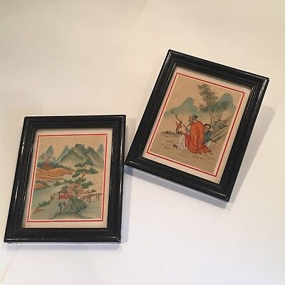 A Pair Of Vintage Framed Japanese Watercolours On Silk