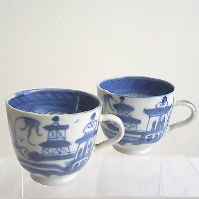 Antique Chinese Export Blue White Canton Ware Porcelain Tea Cups 2