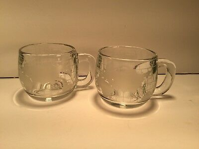 Pair Of Nestle Nescafe Etched Glass World Globe Map Coffee Mugs Vintage