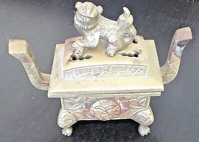 Antique Japanese Foo Dog Brass Incense Burner, A Beauty!