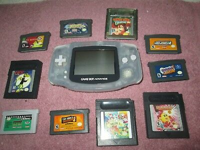NINTENDO GAMEBOY ADVANCE GAME SYSTEM  with 10 games.