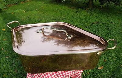 French Copper Turbotiere Fish Kettle Pure Silver Lined Turbot Roasting Dish 12.6