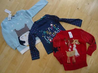 GEORGE EVIE BHS baby girls 3 piece christmas jumper top set AGE 18-24 MONTHS NEW