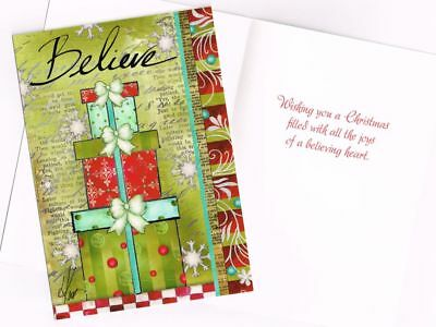 """Leanin' Tree Box of 10 Christmas Cards """"Believe"""" with Presents and Glitter"""