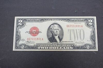 1928 F Series $2 Two Dollar Bill Red Seal US Legal Tender Note