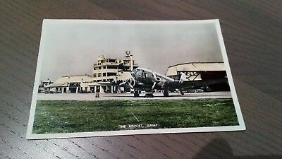 Rare c1955 coloured RP postcard-'The Airport, Jersey'-social history-details