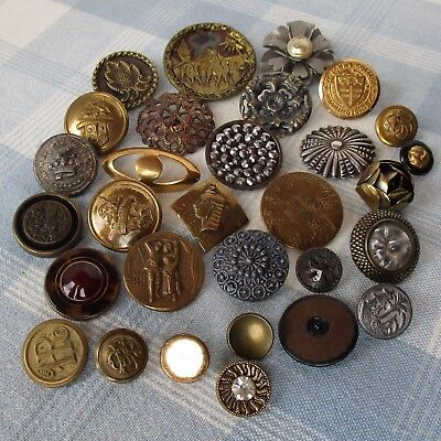 Assortment of 30 Vintage and Victorian Metal Buttons
