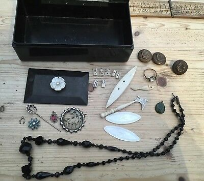 A Vintage Bakelite Box With Vintage / Antique Jewellery Bits, Silver, Rubies,Etc