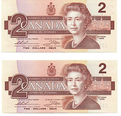 Canada $2.00 Dollar Bills (two) Crisp Uncirculated 1986