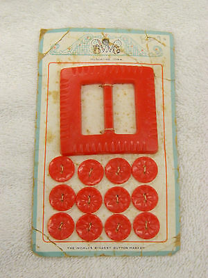 Vintage Red Carved Plastic Buckle & Buttons Set on Card - B W Co., Muscatine IA