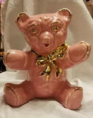 VINTAGE CERAMIC SEATED PINK TEDDY BEAR piggy BANK GOLD BOW AND ACCENTS