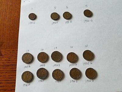 Lot of West German Coins 1, 2, 5, and 10 pfennig