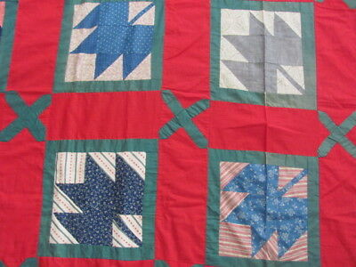 Early 1900s Maple Leaf with a twist quilt top in red and fugitive green big size