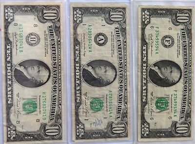 Lot of Three $10 Federal Reserve Notes - Two 1981 - One 1981 A