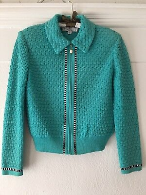 St. John Collection by Marie Gray turquoise knit zip front career jacket sz 6