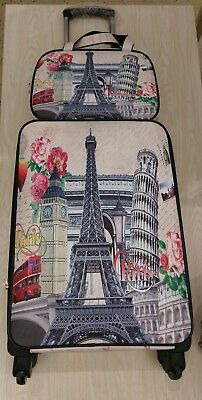 Vintage Paris Print 2 Piece Carry On Luggage Set Spinner Softcase Travel Womens