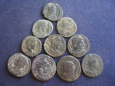 10 Genuine Ancient Roman Coins,Unresearched,All Have Some Great Detail