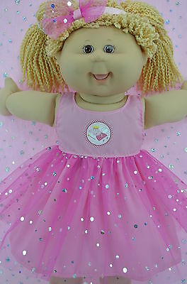 "Play n Wear Doll Clothes To Fit 16"" Cabbage Patch PINK SEQUIN DRESS~HEADBAND"