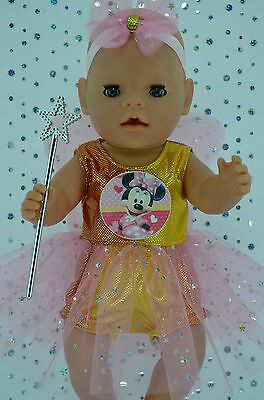 "Play n Wear Doll Clothes For 17"" Baby Born RAINBOW FAIRY~PANTS~HEADBAND~WAND"
