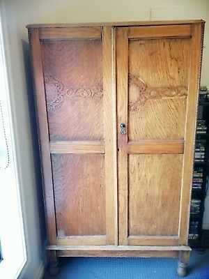 Charming antique  old Oak Timber Wardrobe with shelves