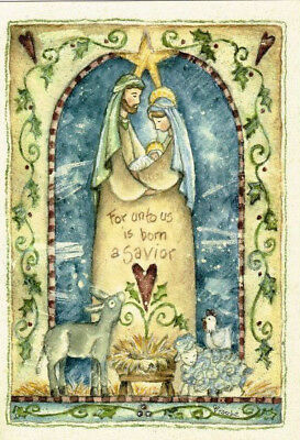 Leanin' Tree Box of 10 Christmas Cards: For Unto us is born a Savior. Nativity