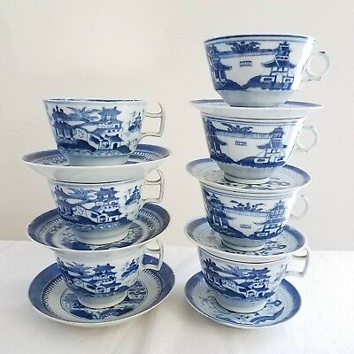 Chinese Export Blue White Canton Ware Porcelain Tea Cups & Saucers -  Lot 14