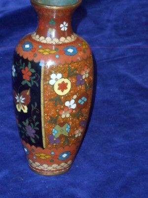 Antique 4-Sided Meji Period Japanese Cloisonne Enamel Gold Dust Butterfly Vase