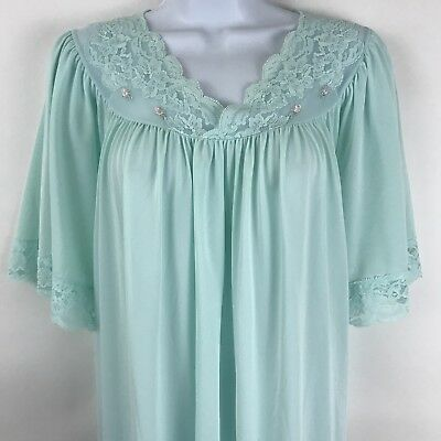 Vintage Shadowline Womens Nightgown XL Green Nylon Short sleeve Floral Lace