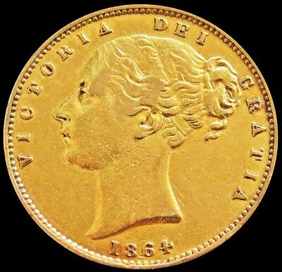 1864 Gold Great Britain 7.981 Grams Sovereign Shield Reverse Young Head Die #100