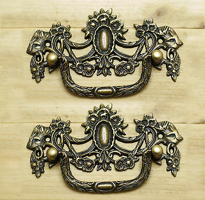Set of 2 pcs Vintage VICTORIAN Handle Antique Solid Brass Drawer Handle pulls