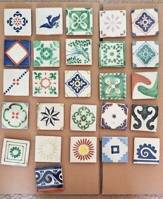 Mexican Tile Talavera Hand Painted Various Designs Quantity Approx 60+