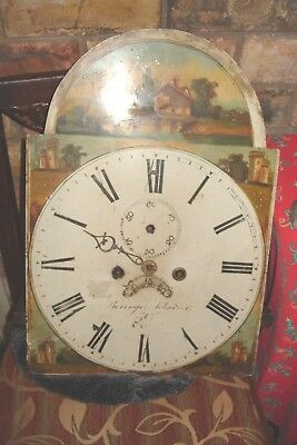 clock parts LARGE GRANDFATHER MOVEMENT AND DIAL STRIKES ON A BELL PARTS  REPAIR