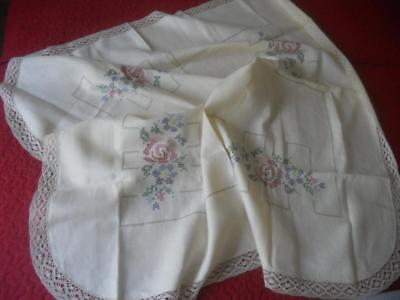 Vintage 1950's Embroidered Linen Table Cloth X Stitch Flowers Lace 117 X120 Cm
