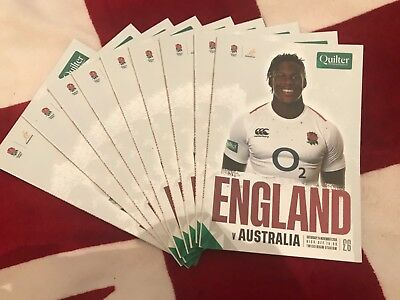 New England v Australia Rugby Union Programme 24/11/2018 Twickenham Quilter