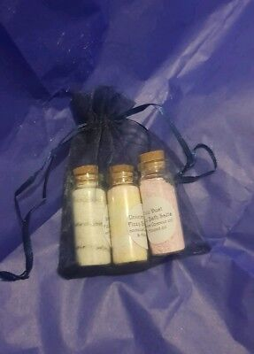Unicorn Magic, Snow Fairy & Pixie Dust fizzy bath salts in organza bag.