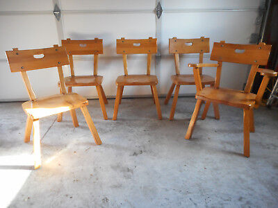 RARE Fully Marked Monterey Furniture Rancho Mission Wood Dining Chairs Set of 5