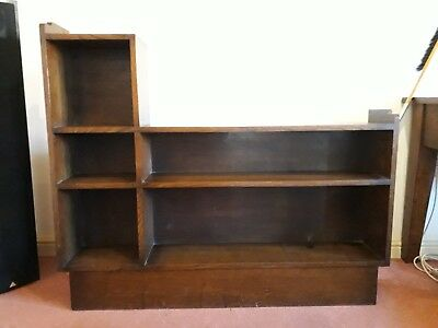 Small Solid Oak Vintage Antique Bookcase - Dark Brown