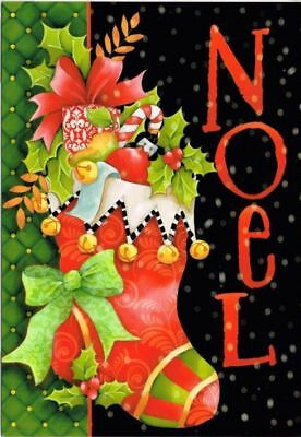Leanin' Tree Box of 10 Christmas Cards: Noel Stocking. With Printed Envelopes.
