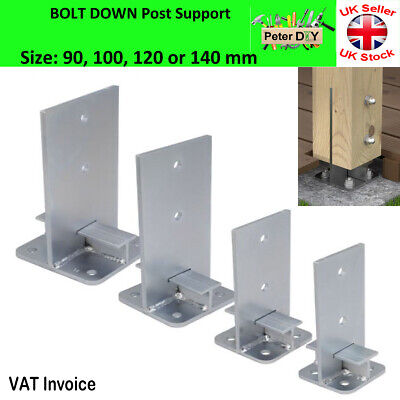 Heavy Duty Galvanised Bolt Down INTERNAL POST SUPPORT Fence Foot Base 90-140 mm