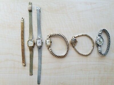 Lot Of 5 Women's Vintage Wind-Up Mechanical Watches Benrus Bulova Hamilton Parts