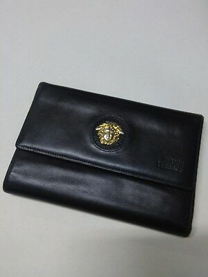 AMAZING DEEP BLU LEATHER VINTAGE VERSACE WALLET 90's