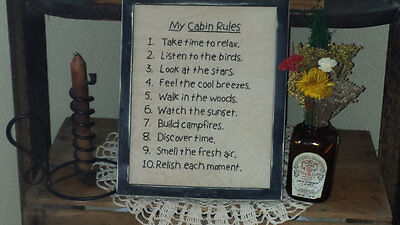Cabin Rules, Primitive Stitchery, Sampler, Home Decor, Handmade, Rustic, Country
