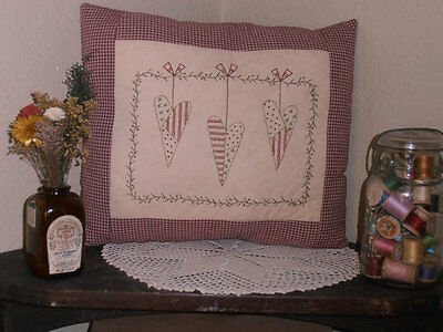 Primitive Stitchery Pillow, 3 Hanging Hearts, Home or Cabin Decor, Handmade